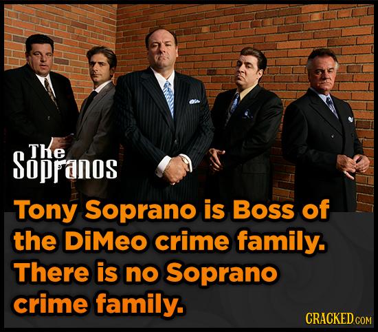 Sopranos TKe Tony Soprano is Boss of the DIMEO crime family. There is no Soprano crime family. CRACKEDCO COM