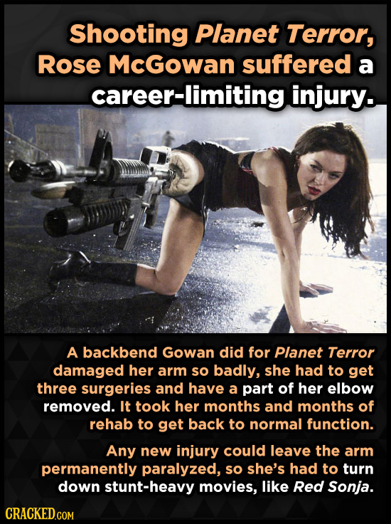 Shooting Planet Terror, Rose McGowan suffered a areer-limiting injury. A backbend Gowan did for Planet Terror damaged her arm so badly, she had to get