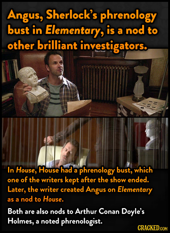 Angus, Sherlock's phrenology bust in Elementary, is nod a to other brilliant investigators. In House, House had phrenology bust, which a one of the wr
