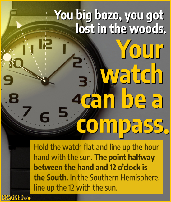 You big bozo, you got lost in the woods. Your 2 watch 9 3 8 4can be a 7 755 compass. Hold the watch flat and line up the hour hand with the sun. The p
