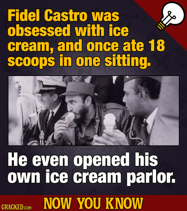 Fidel Castro was obsessed with ice cream, and once ate 18 scoops in one sitting. He even opened his own ice cream parlor. NOW YOU KNOW CRACKEDGOM