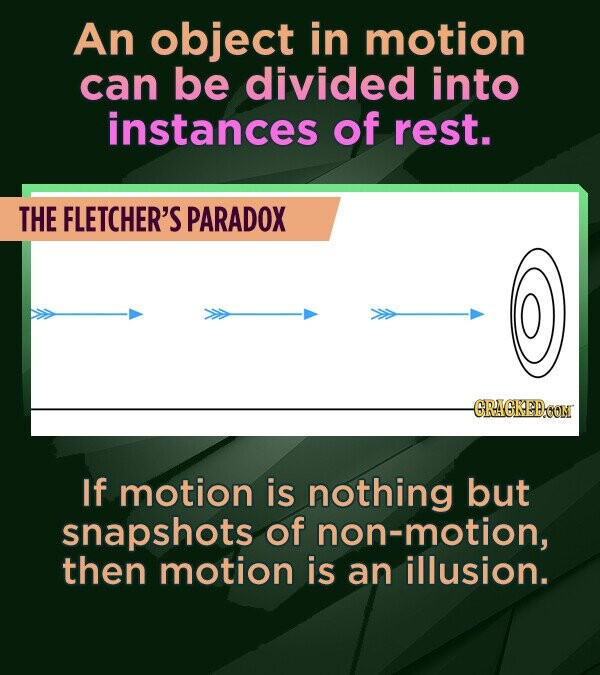An object in motion can be divided into instances of rest. THE FLETCHER'S PARADOX -GRAGKEDOON If motion is nothing but snapshots of non-motion, then m