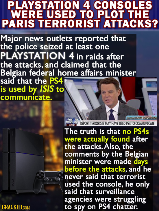 PLAYSTATION 4 CONSOLES WERE USED TO PLOT THE PARIS TERRORIST ATTACKS? Major news outlets reported that the police seized at least one PLAYSTATION 4 in