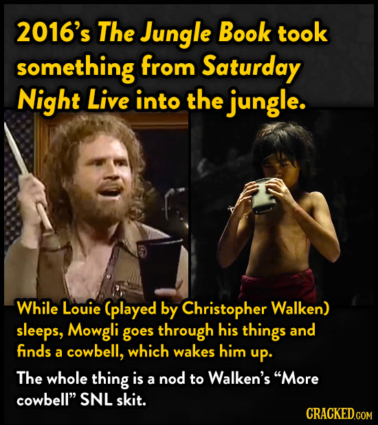 2016's The Jungle Book took something from Saturday Night Live into the jungle. While Louie (played by Christopher Walken) sleeps, Mowgli goes through