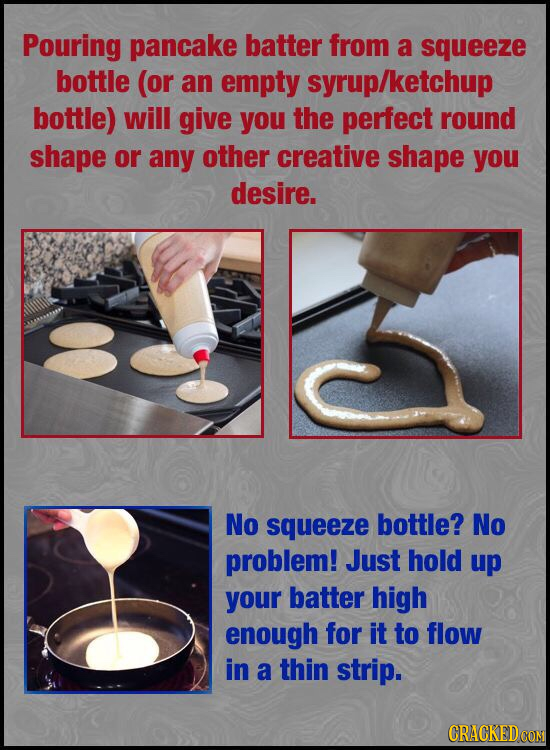 Pouring pancake batter from a squeeze bottle (or an empty syrup/ketchup bottle) will give you the perfect round shape or any other creative shape you
