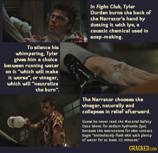In Fight Club, Tyler Durden burns the back of the Narrator's hand by dusting it with lye, a caustic chemical used in soap-making. To silence his whimp
