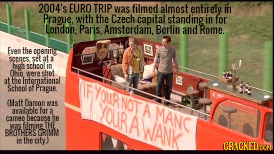 2004's EURO TRIP was filmed almost entirely in Prague, with the Czech capital standing in for London, Paris, Amsterdam, Berlin and Rome. Even the open