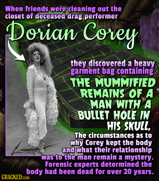 When friends were cleaning out the closet of deceased drag performer Dorian Corey they discovered a heavy garment bag containing THE MUMMIFIED REMAINS