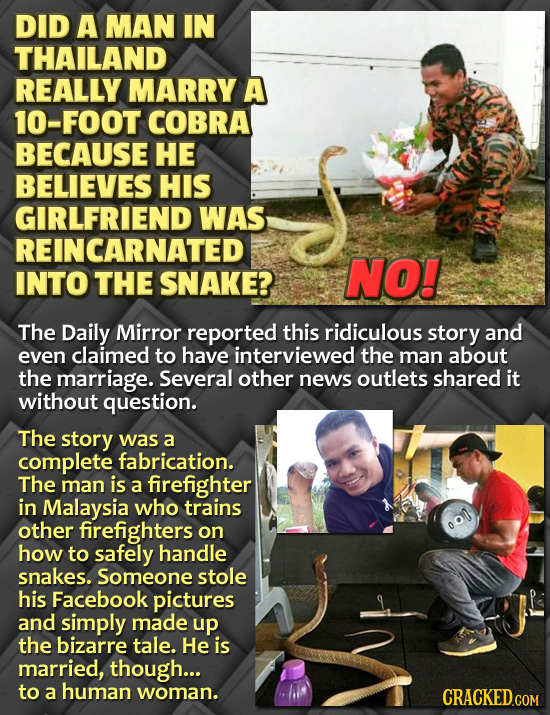 DID A MAN IN THAILAND REALLY MARRY A 10-FOOT COBRA BECAUSE HE BELIEVES HIS GIRLFRIEND WAS REINCARNATED INTO THE SNAKE? NO! The Daily Mirror reported t