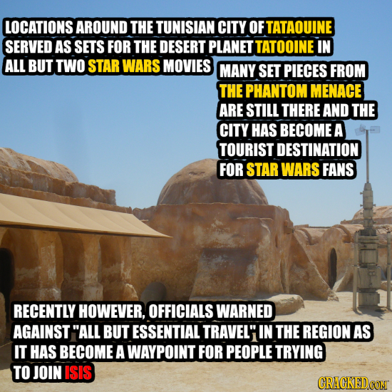 LOCATIONS AROUND THE TUNISIAN CITY OF TATAOUINE SERVED AS SETS FOR THE DESERT PLANET TATOOINE IN ALL BUT TWO STAR WARS MOVIES MANY SET PIECES FROM THE