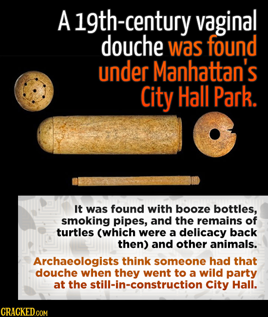 A 19th-century vaginal douche was found under Manhattan's City Hall Park. It was found with booze bottles, smoking pipes, and the remains of turtles (