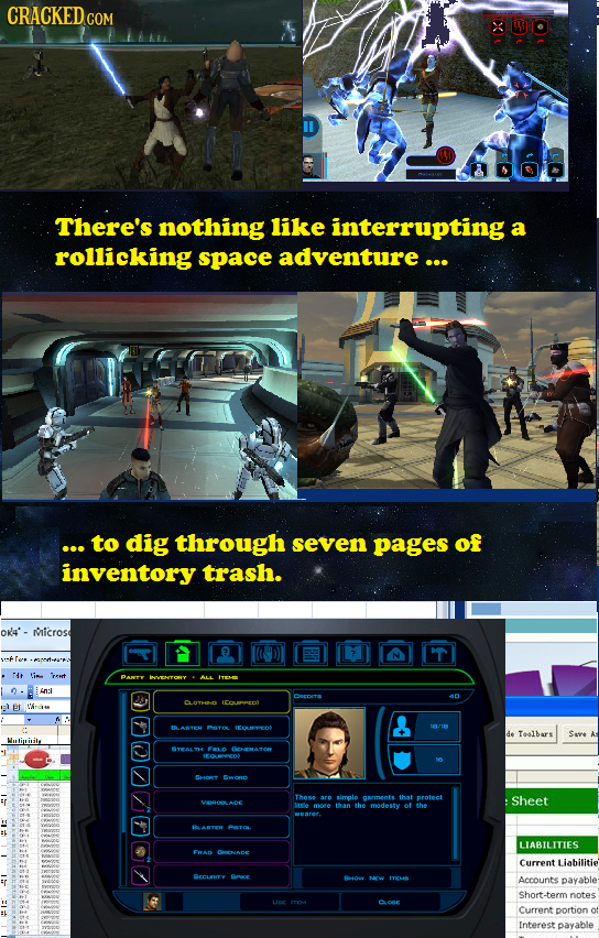CRACKED COM There's nothing like interrupting a rollicking space adventure ... ... to dig through seven pages of inventory trash. OK4'- MIicrosd e PAN