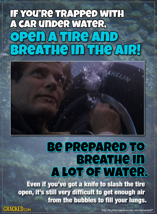 IF YOU'RE TRAPPED WITH A CAR under WATER, opEN A TIRE And BREATHE In THE AIR! Be PREPARED TO BREATHE In A LOT OF WATER. Even if you've got a knife to
