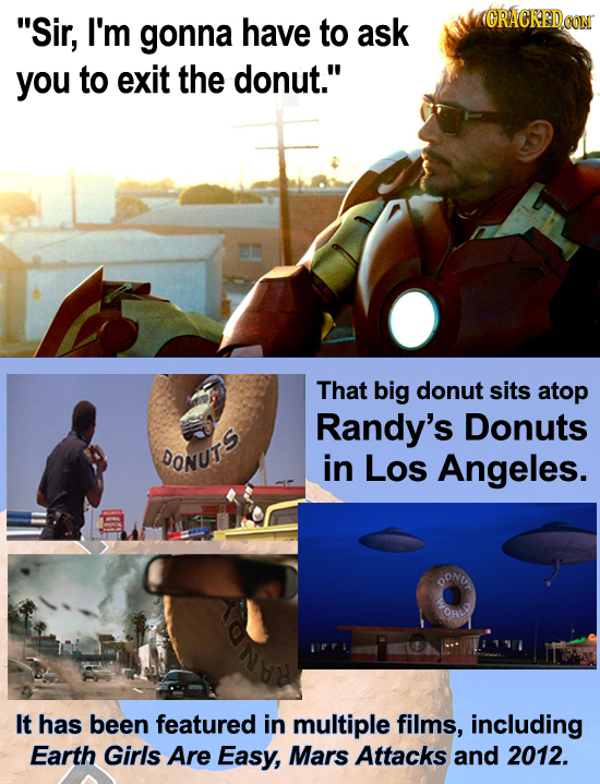 Sir, I'm gonna have to ask (CRACKEDCON you to exit the donut. That big donut sits atop Randy's Donuts DONUT in Los Angeles. OONLA ORL It has been fe