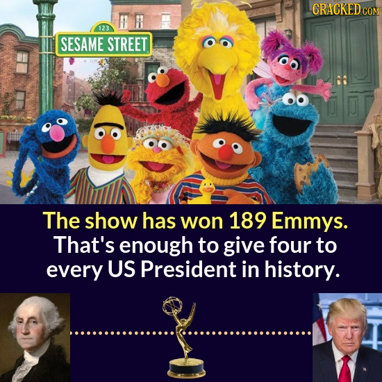 CRACKED C 123 SESAME STREET The show has won 189 Emmys. That's enough to give four to every US President in history.