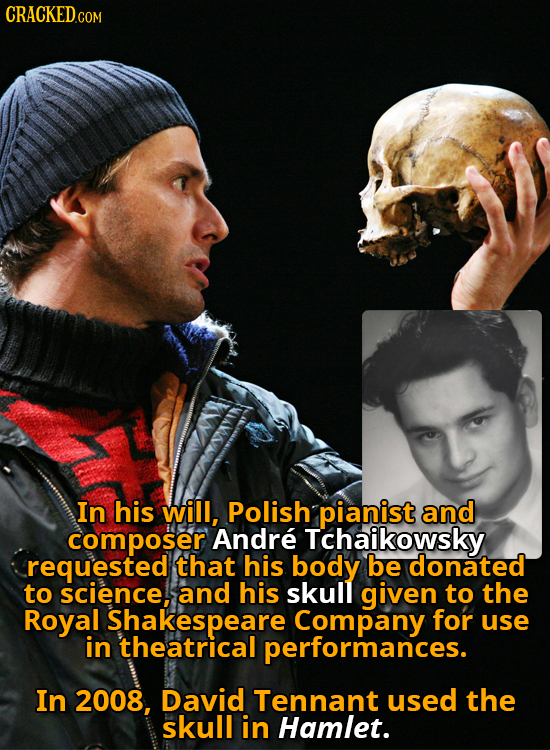 In his will, Polish pianist and composer Andre Tchaikowsky requested that his body be donated to science, and his skull given to the Royal Shakespeare