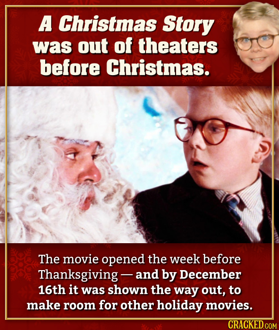 A Christmas Story was out of theaters before Christmas. The movie opened the week before Thanksgiving - and by December 16th it was shown the way out,
