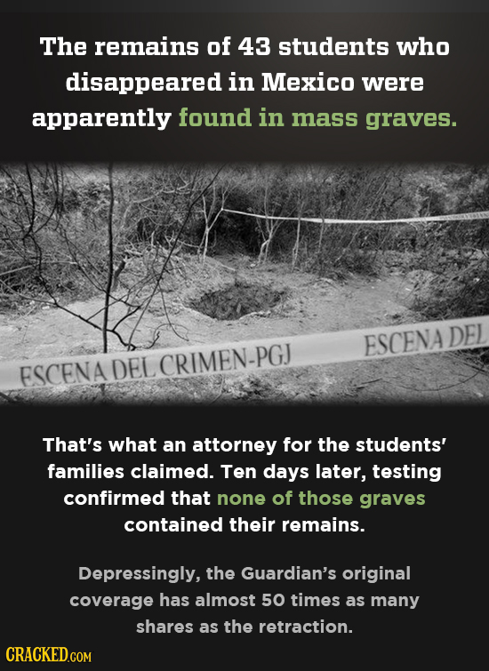 The remains of 43 students who disappeared in Mexico were apparently found in mass graves. DEL ESCENA ESCENA DEL CRIMEN-PGJ That's what an attorney fo
