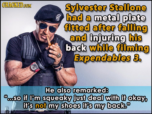 CRACKEDCON Sylvester Stallone had a metal plate fitted after falling and injuring his back while filming Expendables 3. He also remarked: o.so if I'm