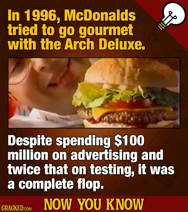 In 1 996, McDonalds tried to go gourmet with the Arch Deluxe. Despite spending $100 million on advertising and twice that on testing, it was a complet