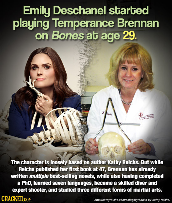 Emily Deschanel started playing Temperance Brennan on Bones at age 29. The character is loosely based on author Kathy Reichs. But while Reichs publish