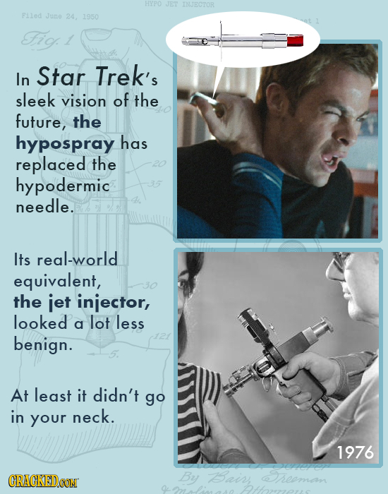 HYPO JET INJECTOR Filed June 24, 1950 Fio 1 In Star Trek's sleek vision of the future, the hypospray has replaced the hypodermic needle. Its real-worl