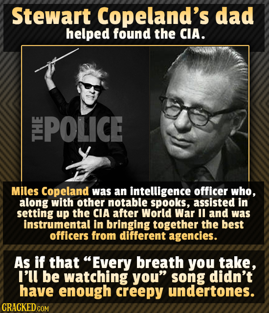 Stewart Copeland's dad helped found the CIA. POLICE Miles Copeland was an intelligence officer who, along with other notable spooks, assisted in setti