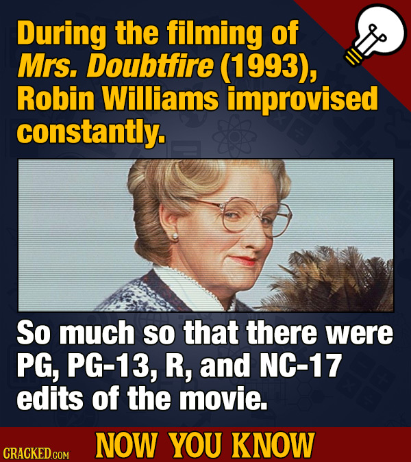 During the filming of Mrs. Doubtfire (1993), Robin Williams improvised constantly. So much SO that there were PG, PG-13, R, and NC-17 edits of the mov