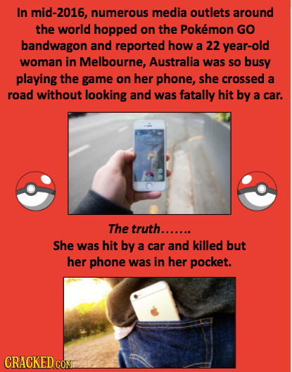In mid-2016, numerous media outlets around the world hopped on the Pokemon GO bandwagon and reported how a 22 year-old woman in Melbourne, Australia w
