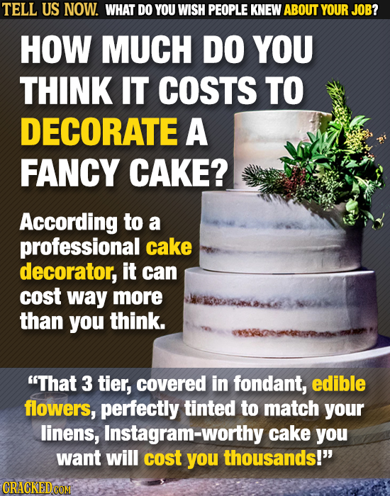 TELL US NOW. WHAT DO YOU WISH PEOPLE KNEW ABOUT YOUR JOB? HOW MUCH DO YOU THINK IT COSTS TO DECORATE A FANCY CAKE? According to a professional cake de