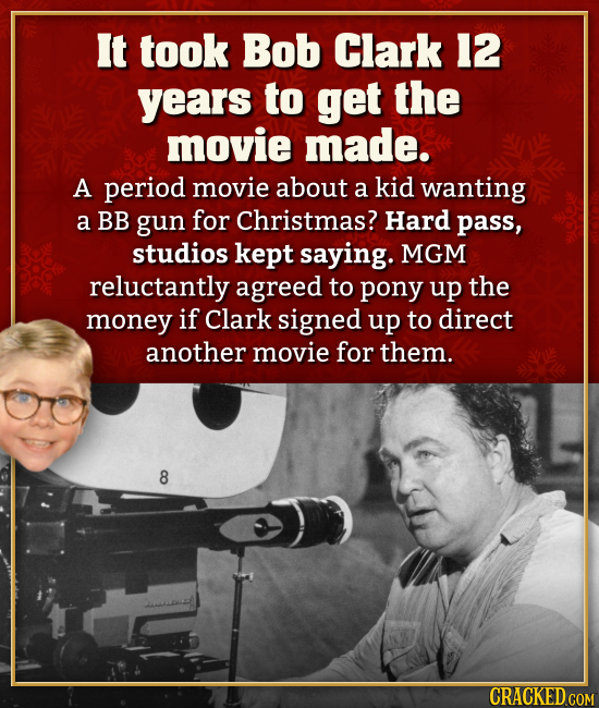 It took Bob Clark 12 years to get the movie made. A period movie about a kid wanting a BB gun for Christmas? Hard pass, studios kept saying. MGM reluc
