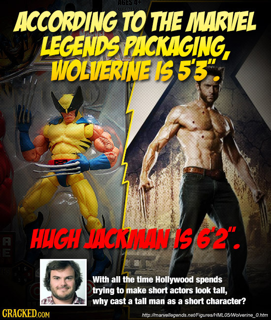 ACCORDING TO THE MARVEL LEGENDS PACKAGING, WOLVERINE IS 5'3 HIGH ACKAMAN IS 6'2. With all the time Hollywood spends trying to make short actors look