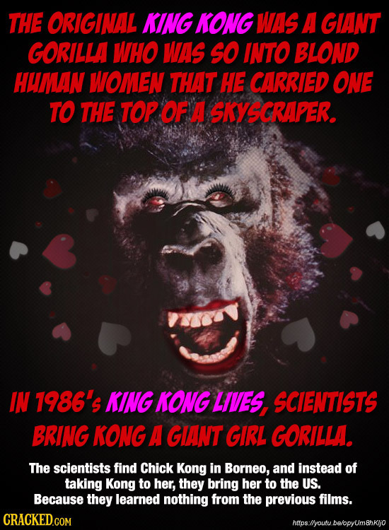 THE ORIGINAL KING KONG WAS A GIANT GORILLA WHO WAS SO INTO BLOND HWMAN WOMEN THAT HE CARRIED ONE TO THE TOP OF A SKYSCRAPER. IN 7986's KING KONG LIVES