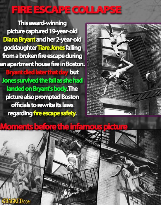 FIRE ESCAPE COLLAPSE This award-winning picture captured 19-year-old Diana Bryant and her 2- -year-old goddaughter Tiare Jones falling from a broken f