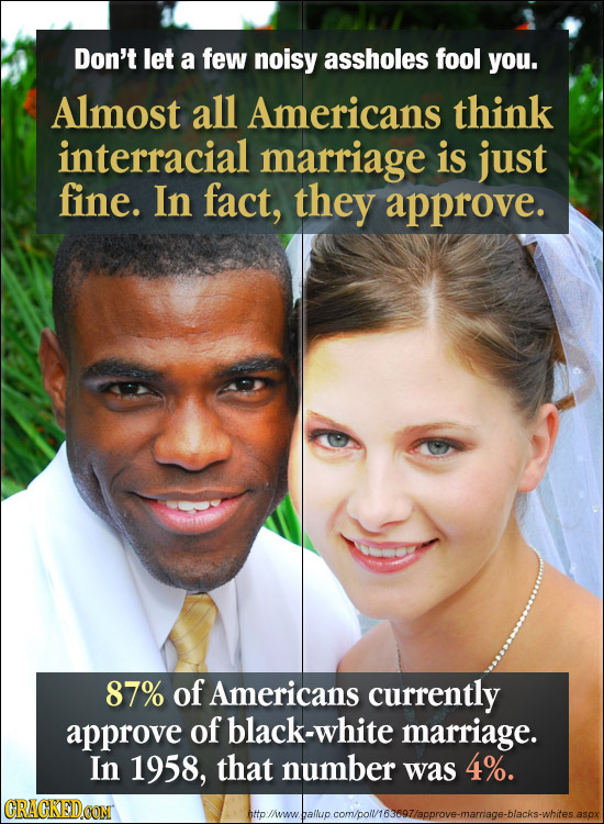 Don't let a few noisy assholes fool you. Almost all Americans think interracial marriage is just fine. In fact, they approve. 87% of Americans current