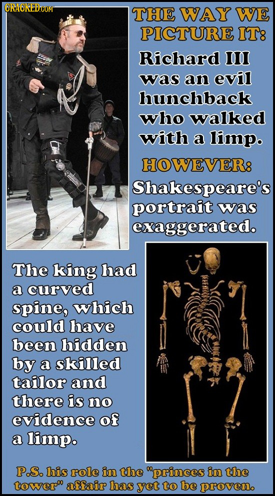 RACKEDCOM THE WAY WE PICTURE IT8 Richard III was an evil hunchback who walked with a limp. HOWEVER8 Shakespeare's portrait was exaggerated. The king h