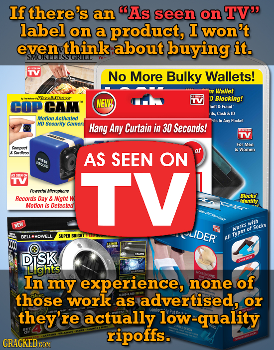 If there's an As seen on TV label on a product, I won't even think about buying it. SMOKELESS GRILL TV No More Bulky Wallets! Wallet mAomicleam COP