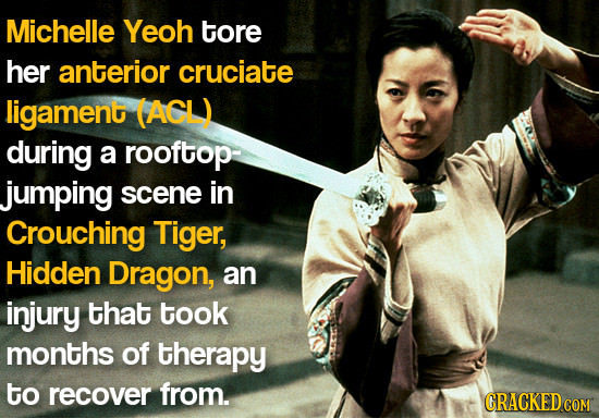 Michelle Yeoh tore her anterior cruciate ligament (ACL) during a rooftop- jumping scene in Crouching Tiger, Hidden Dragon, an injury that took months