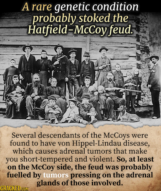 A rare genetic condition probably stoked the Hatfield-McCoy feud. Several descendants of the Coys were found to have yon Hippel-Lindau disease, which