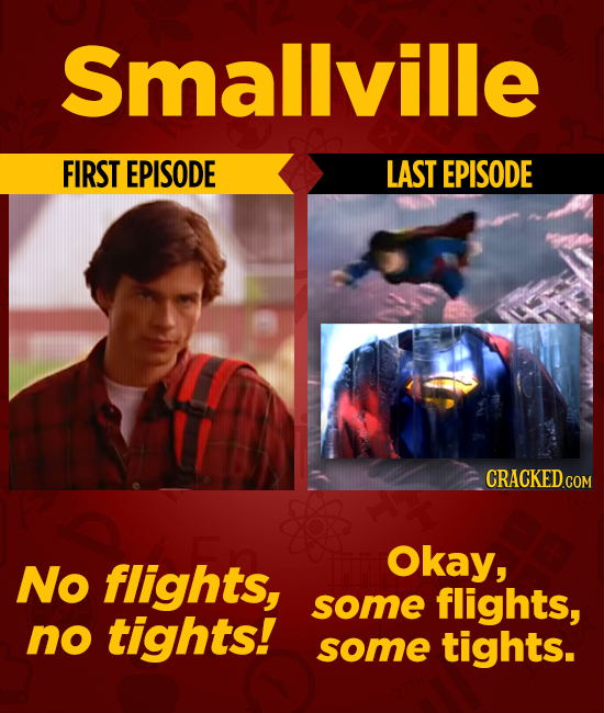 Smallville FIRST EPISODE LAST EPISODE No flights, Okay, some flights, no tights! some tights.