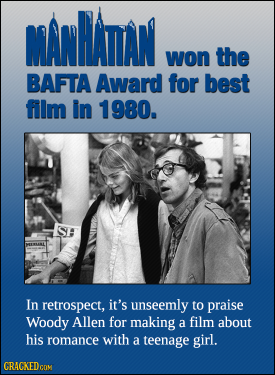 MANHADAN won the BAFTA Award for best film in 1980. SH MERLAL In retrospect, it's unseemly to praise Woody Allen for making a film about his romance w