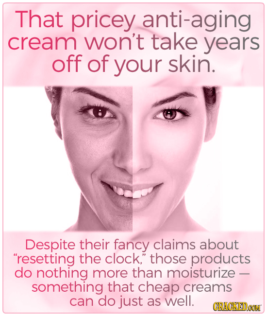 That pricey anti-aging cream won't take years off of your skin. Despite their fancy claims about resetting the clock, those products do nothing more