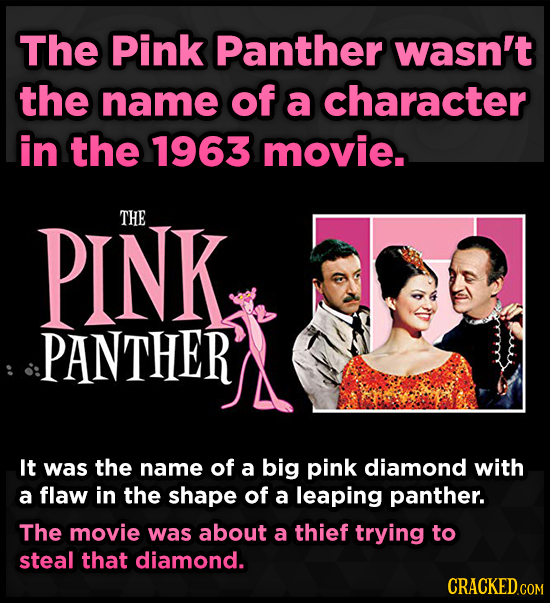 The Pink Panther wasn't the name of a character in the 1963 movie. PINK THE PANTHER It was the name of a big pink diamond with a flaw in the shape of