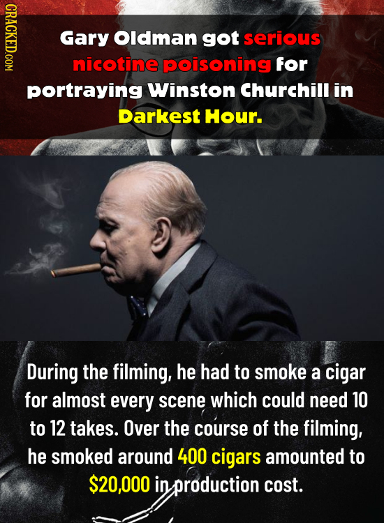 CRACKED.COM Gary Oldman got serious nicotine poisoning for portraying Winston Churchill in Darkest Hour. During the filming, he had to smoke a cigar f