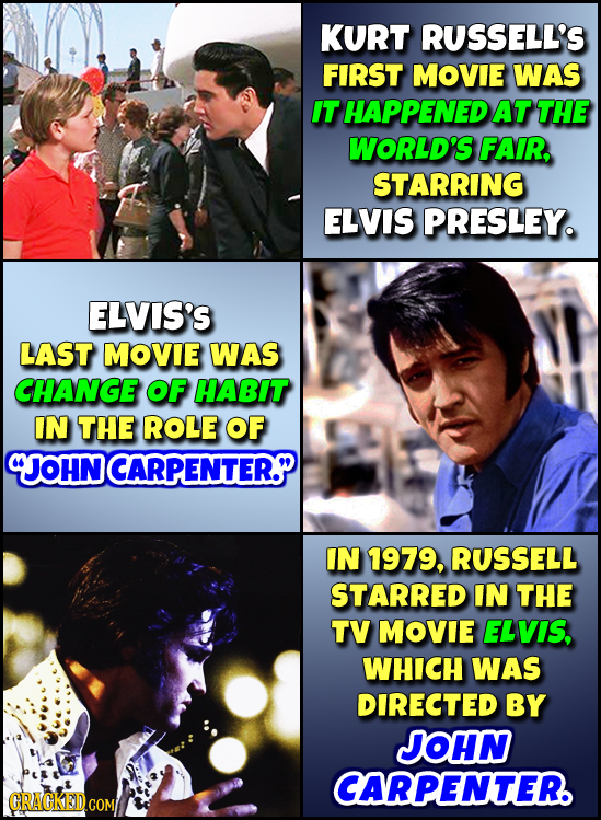 KURT RUSSELL'S FIRST MOVIE WAS IT HAPPENED AT THE WORLD'S FAIR, STARRING ELVIS PRESLEY. ELVIS'S LAST MOVIE WAS CHANGE OF HABIT IN THE ROLE OF CJOHN CA