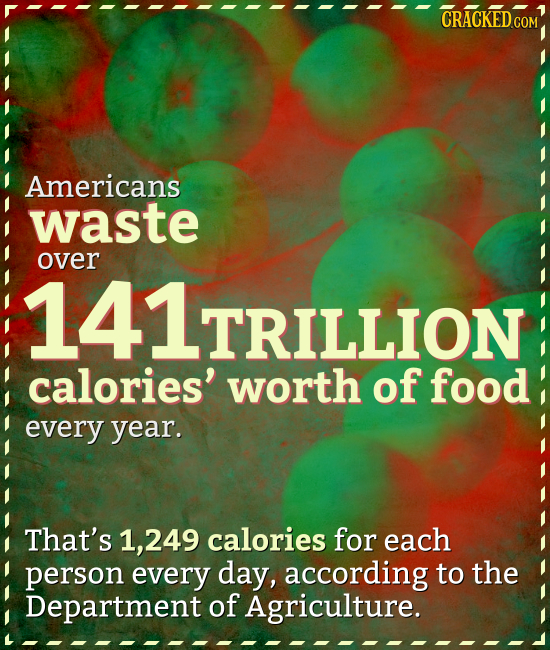 CRACKEDC Americans waste over 141TRILLION LTRILLION calories' worth of food every year. That's ,249 calories for each person every day, according to t