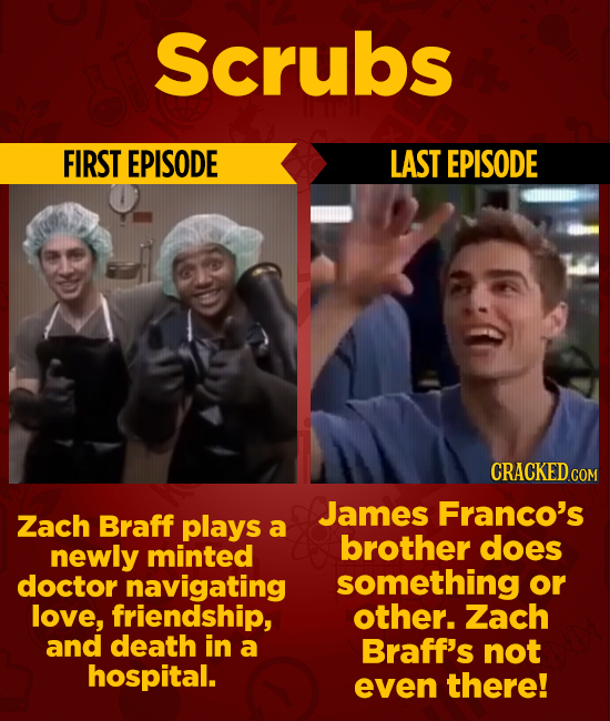Scrubs FIRST EPISODE LAST EPISODE CRACKEDcO James Franco's Zach Braff plays a brother does newly minted doctor navigating something or love, friendshi