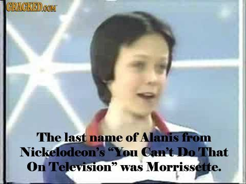 GRAGKEDo CON The last name of Alanis from Nickelodeon's You Can't Do That On Television was Morrissette.