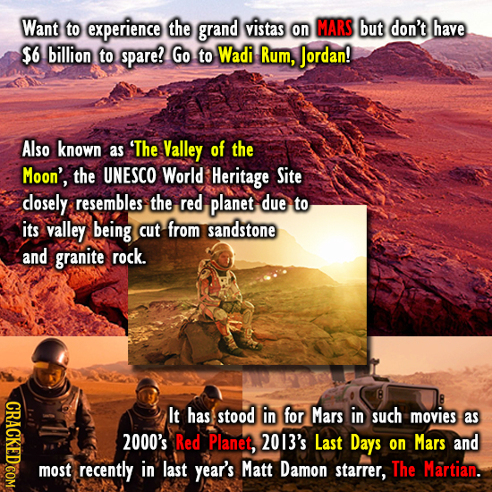 Want to experience the grand vistas on MARS but don't have $6 billion to spare! Go to Wadi Rum, Jordan! Also known as 'The Valley of the Moon', the UN