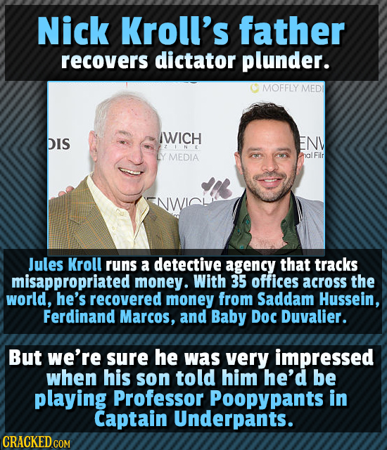 Nick Kroll's father recovers dictator plunder. MOFFLY MED IWICH DIS ENV ZFNE MEDIA Filr Jules Kroll runs a detective agency that tracks misappropriate